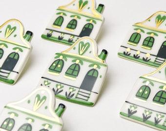 Tiny House, Ceramic Brooch, Romanian Folk House, Green