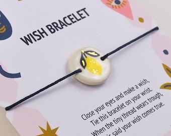 Wish Bracelet With Small Lemon Charm. Friendship Bracelet. Gift for Vegan Friend.