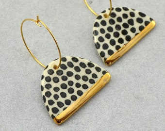 Hoop Earrings with Dots, Black and White Ceramic Earrings, Gold Decorated / The Graphic Series