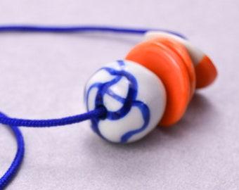 Asymmetrical Orange & Blue Porcelain Necklace, Handmade Beaded Necklace