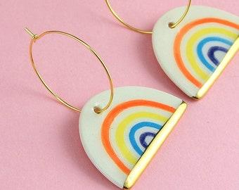 Rainbow Earrings Dangles, Pride Earrings, Ceramic and Gold