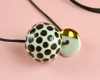 Porcelain Bead Necklace, Decorated with Real Gold, Hand Painted with Black Polka Dots, Sliding Knot Cotton String