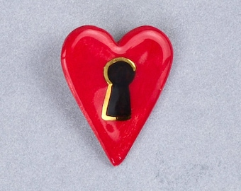 Ceramic Brooch, Heart Broach, Ceramic Jewelry for Women, Key to Your Heart, Unique Gifts, Gift for Lover