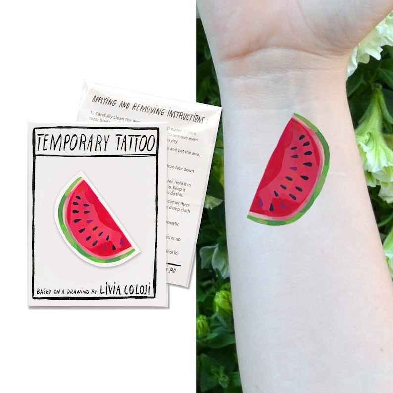 Tatouage Temporaire Temporaire De Pastèque Tatouage IllustréEtsy De EeD9Yb2IHW