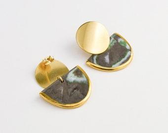 Marbled Earrings, Geometrical Earrings, Stone Looking Porcelain, Green Earth