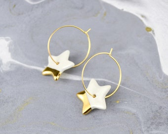 Christmas Earrings, Little Stars, Sparkle Ceramic Jewelry, Holiday Gift, Embellished with Real Gold or Platinum