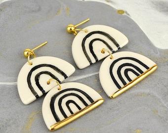 Black Rainbow Earrings, Large Geometric Dangle Earrings, Elegant, Statement Earrings