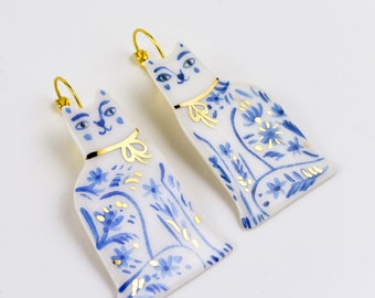 Blue Cat Earrings, Delft Blue Jewelry, Gift for Cat Lady
