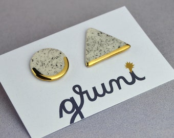 Geometric Stud Earrings,  Asymmetrical Triangle & Circle, Embellished with Real Gold, Salt and Pepper, Speckled, Black and White