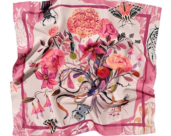 100% Silk Small Square Scarf, Nature Inspired Print, Flowers, Birds, Insects, Limited Edition Gift, 65 x 65 cm, 27 x 27 inches