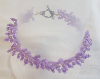 Beaded caterpillar bracelet lavender. Gift for her hand crafted jewelry