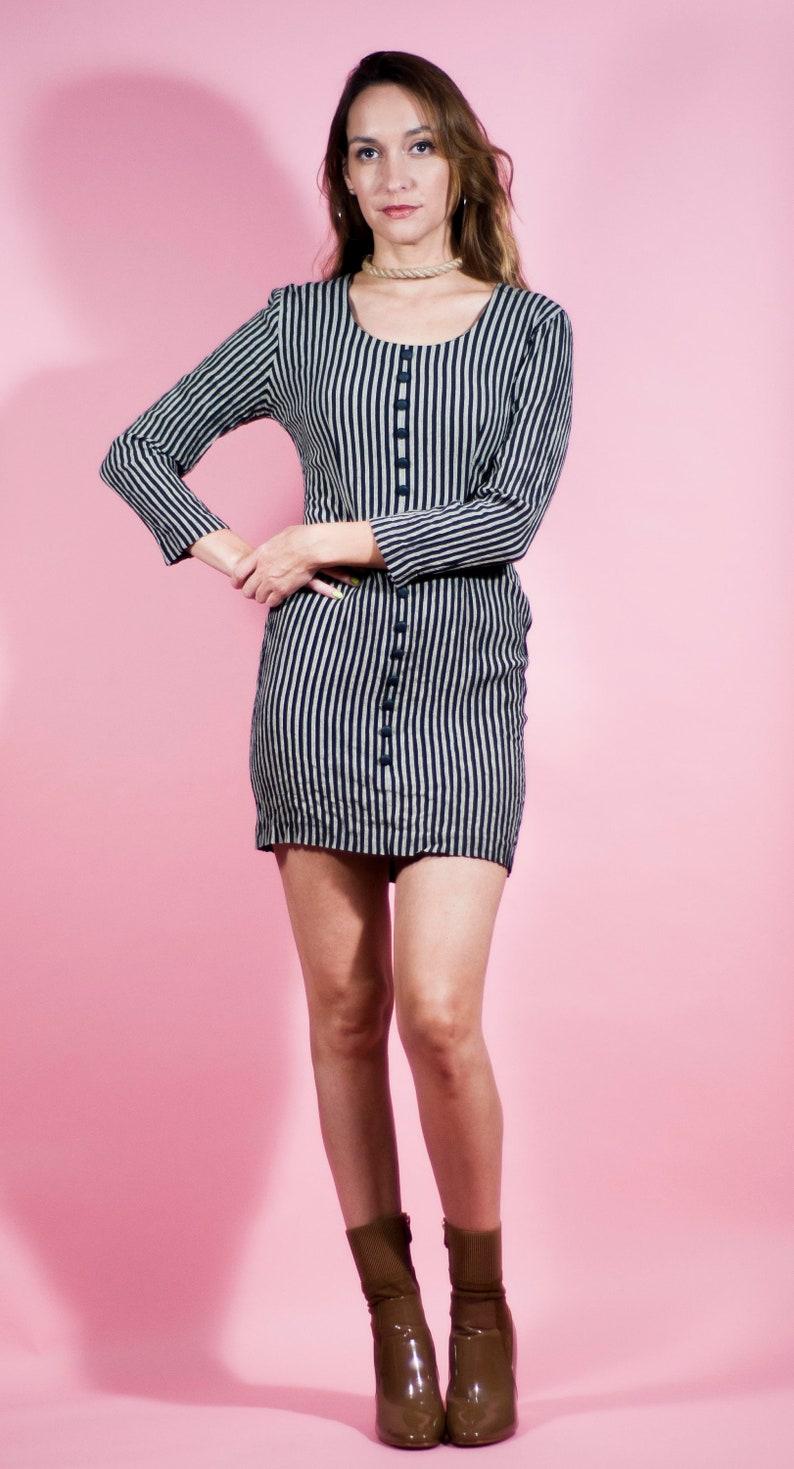 bafdc7add5348 Vintage 80s Striped Mini Dress Sexy Vertical Secretary Dress | Etsy