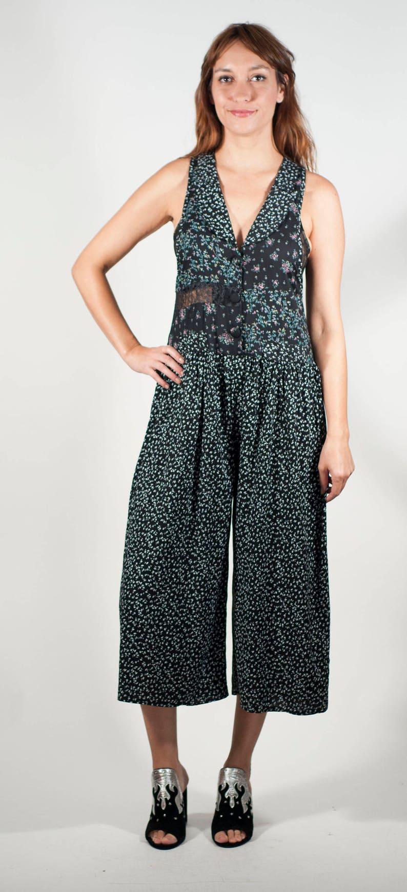 70f8ef76f620 Vintage Jumpsuit Oversize Floral Jumpsuit Palazzo Culotte Pant