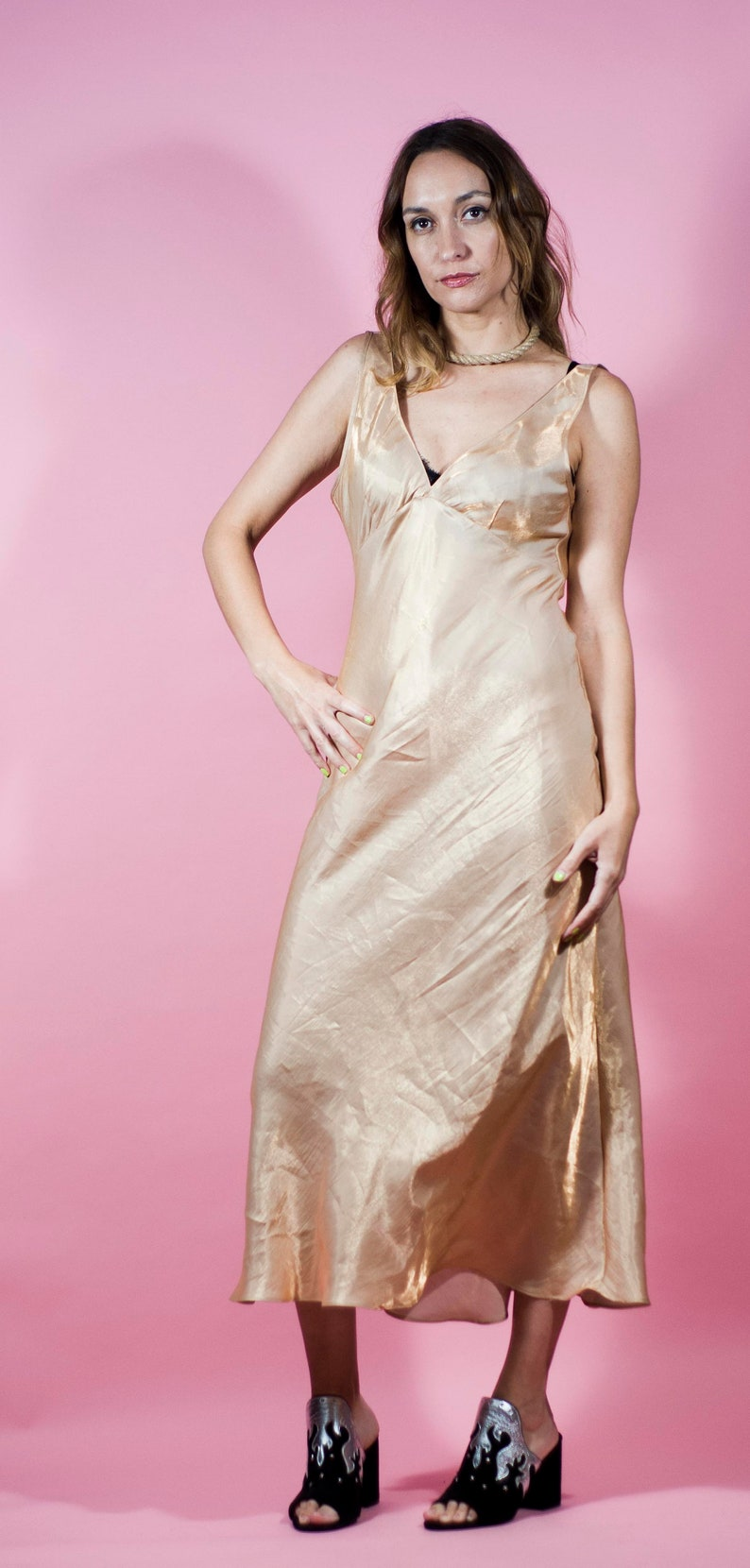 3d22ba44ed58 Vintage 90s Lingerie Slip Dress Gold Maxi Y2K Sexy Party Dress   Etsy