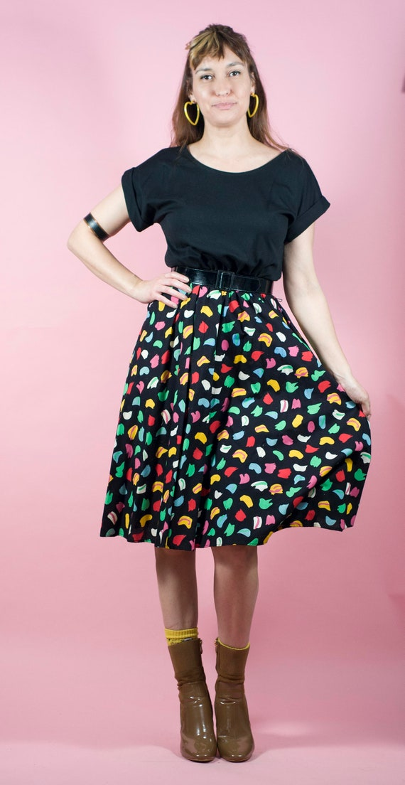 Vintage 80s Party Cocktail Dress 1990s Colorful Dress Full Skirt Swing Skirt 80s does 90s