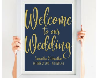 Navy Welcome To Our Wedding Sign, Welcome Sign, Navy Wedding Decor, Large Wedding Sign, Wedding Poster, DIY Wedding, PDF, #IDWS817N_34CB