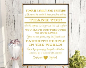 Wedding Thank You Sign In Metallic Gold - Personalized (4x6, 5x7, 8x10, 11x14, 16x20, 18x24, 24x36, A5, A4, A3, A2, A1, A0, Custom)