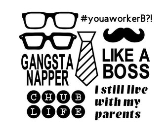 3321a340d LIKE A BOSS 9 Pack Mustache, Glasses, Chub Life Baby Shower Onesie Station  Iron On Heat Transfer Decal Set - Your Color of Choice