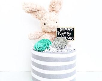 Mustache Mini with Raccoon Plush Blanket Diaper Cake Baby Shower Birthday Baby Sprinkle Gift