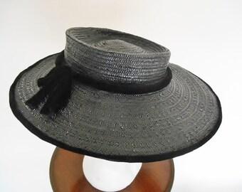Vintage Women s Straw Hat - Retro Black Summer Boater Sun Hat With Black  Velvet Edge and Stylish Ribbon - Vintage Clothing Accessory 1960s. d90c31c25b6