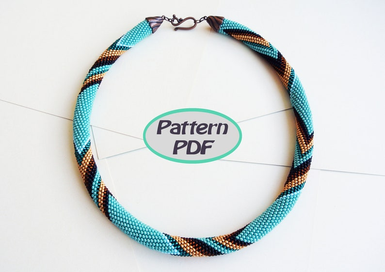 Turquoise Bead Crochet Rope Pattern Necklace Chocolate Etsy