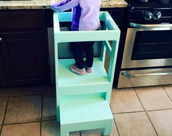 Children's Toddler Infant Interactive Kitchen Play Step Stool Helper Counter High, you pick color!