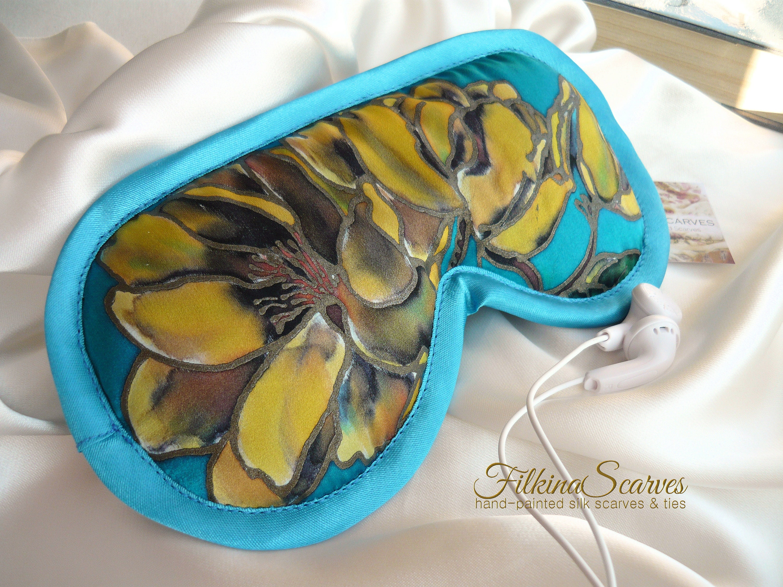 1b14e81545f Sleep Silk Satin Eye Mask HANDPAINTED Travel Sleepwear