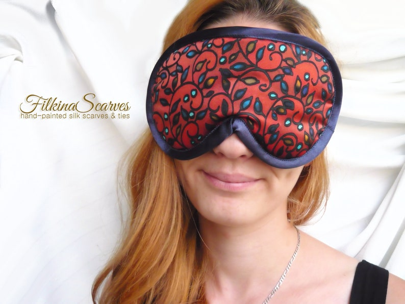 131980b7fca Sleep Silk Satin Eye Mask HANDPAINTED Petals Travel Sleepwear