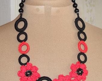 "Crochet necklace ""Karmen"", Stunning piece of Crochet Jewellery Black/Red, Elegant Necklace"