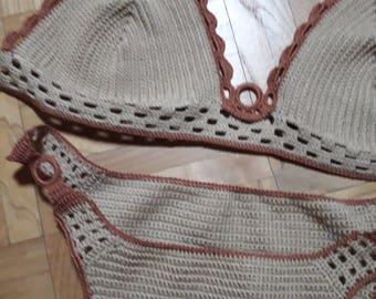 Bikini,Crochet bikini swimsuit, Crochet swimwear, Crochet bathing suit, Crochet bikini set, Crochet bikini top, Brazilian bikini bottom