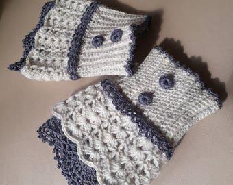 Fingerless gloves, Hand warmers, Handwarmers, Knitted Arm warmers, pure wool white, Crochet wrist warmers