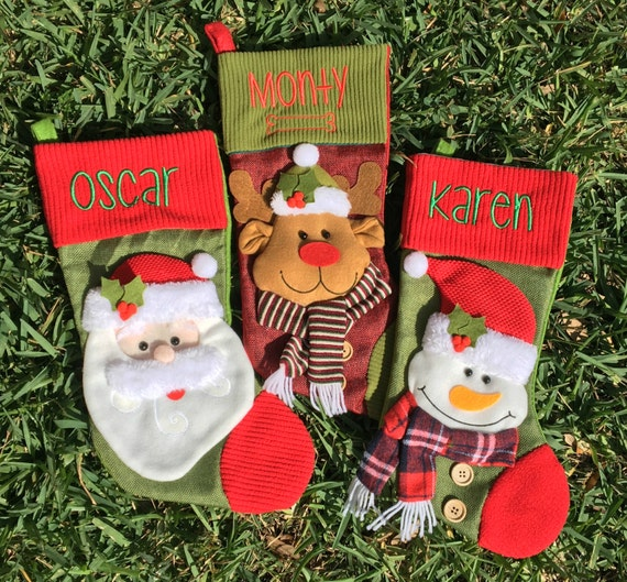 Custom Christmas Stockings.Personalized 3d Christmas Stocking Monogrammed Christmas Stocking Custom Christmas Stocking Personalized