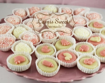 Marzipan filled with pistachio for Baby shower girl or boy Sweets. All natural, made from scratch, gluten, and dairy free.