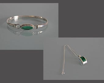 Vintage Taxco Silver Malachite Bracelet, Sterling Silver Malachite Necklace