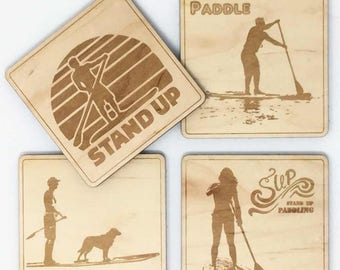 SUP wooden drink coasters.Great to give to your stand up paddle boatd friend. For SUP surfers, beach lovers and wave riders everywhere