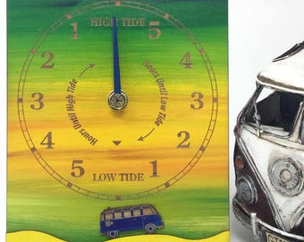 Colourful tide clock with VW camper for all beach and sea lovers.