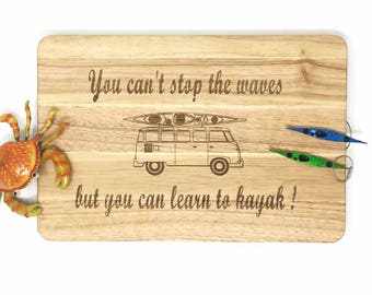 Practical gift for kayakers. Cutting board with VW camper and kayak.