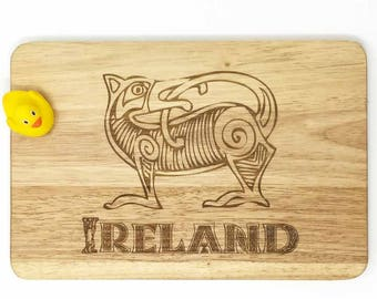 Celtic dog pattern  engraved hardwood chopping board  Ideal present for Ireland lovers Customizable cutting board