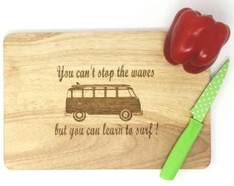 Hardwood cutting board for surfers and dreamers.Vw camper design for freedom seekers Sea lovers gift.