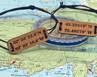 2 COORDINATE BRACELETS.Great romantic or best friend gift.2 Latitude Longitude customized special location bracelets. his and hers