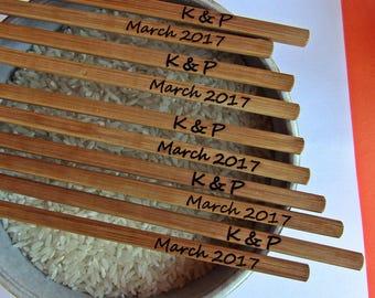 100pair Personalized Wedding Chopsticks, Personalized Bamboo Chopsticks, Wedding Favors, Sale 100pair!!!