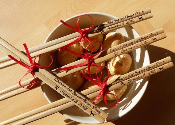 Wedding Favors Order 30pr Min Personalized Wedding Gift Engraved Chopsticks Chopsticks with bow Logo Sale Wedding Favor Chopsticks