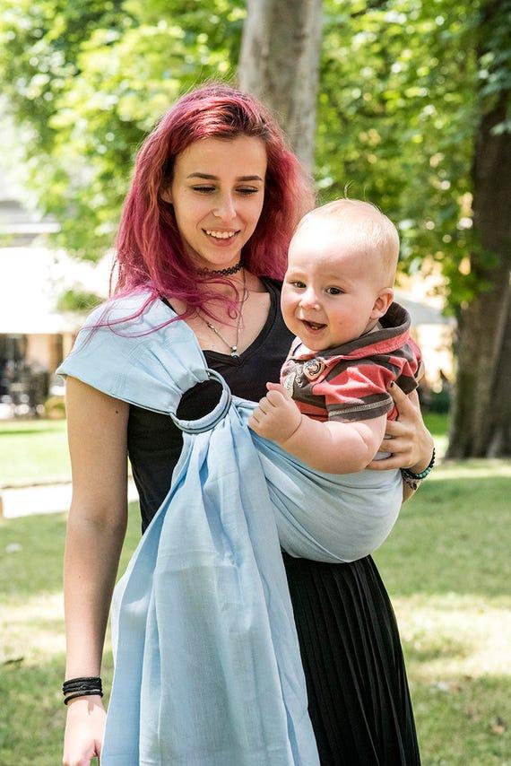 Summer Ring Sling Baby Carrier Wrap Conversion Baby Sling Linen Ring Sling Newborn Toddler Ring Sling Infant Carrier Baby Shower Light Blue