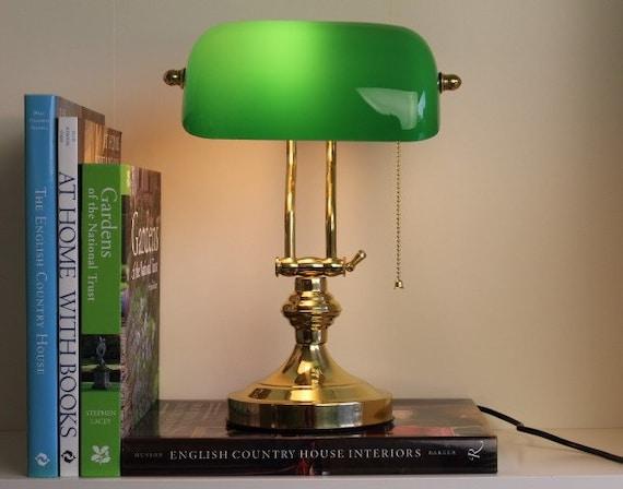 En laiton banquiers lampe vert verre england london etsy