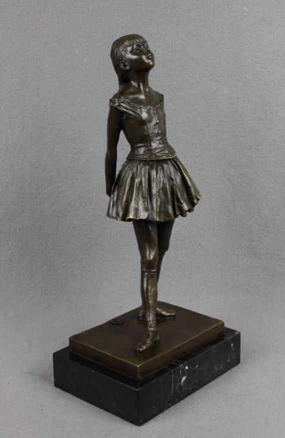 Bronze Skulptur kleine Ballett Tänzerin nach Edgar Degas Ballerina auf Marmor Sockel französischen Impressionismus