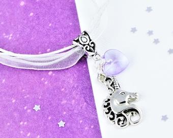 Unicorn Ribbon Necklace, Kids Jewelry, Organza Necklace, Unicorn Jewelry, Lightweight Necklace, Unicorn Charm Jewelry, Unicorn Gifts, Girls