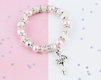 Ballerina Bracelet, Ballet Jewelry, Dance Jewellery, Kids Charm Bracelet, Girls Beaded Bracelet, Ballerina Gift, Dance Charms, Dancer Gift
