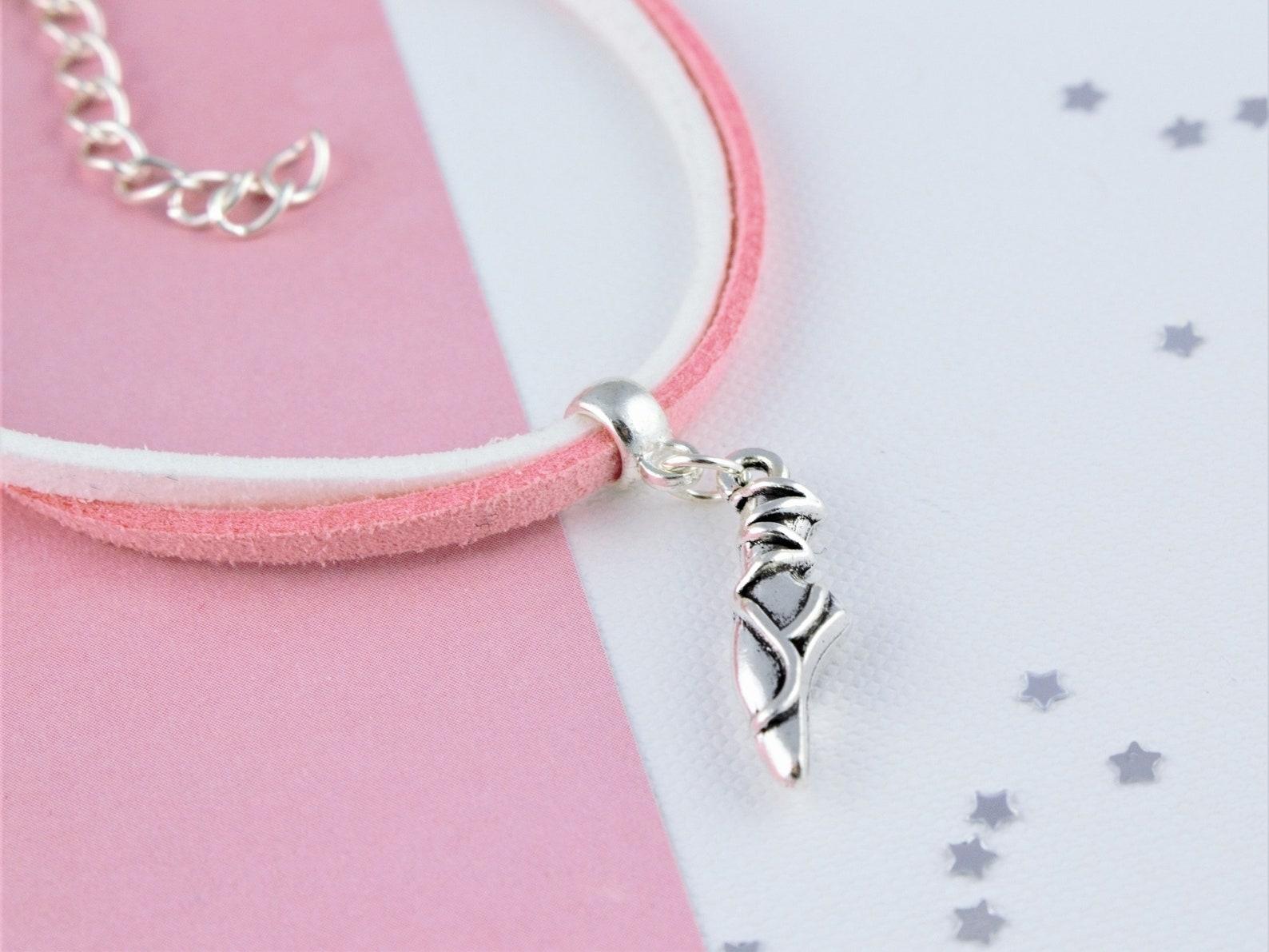ballerina cord bracelet, suede bracelet, ballet shoe jewellery, soft bracelet, kid's bracelet, lightweight bracelet, girls d