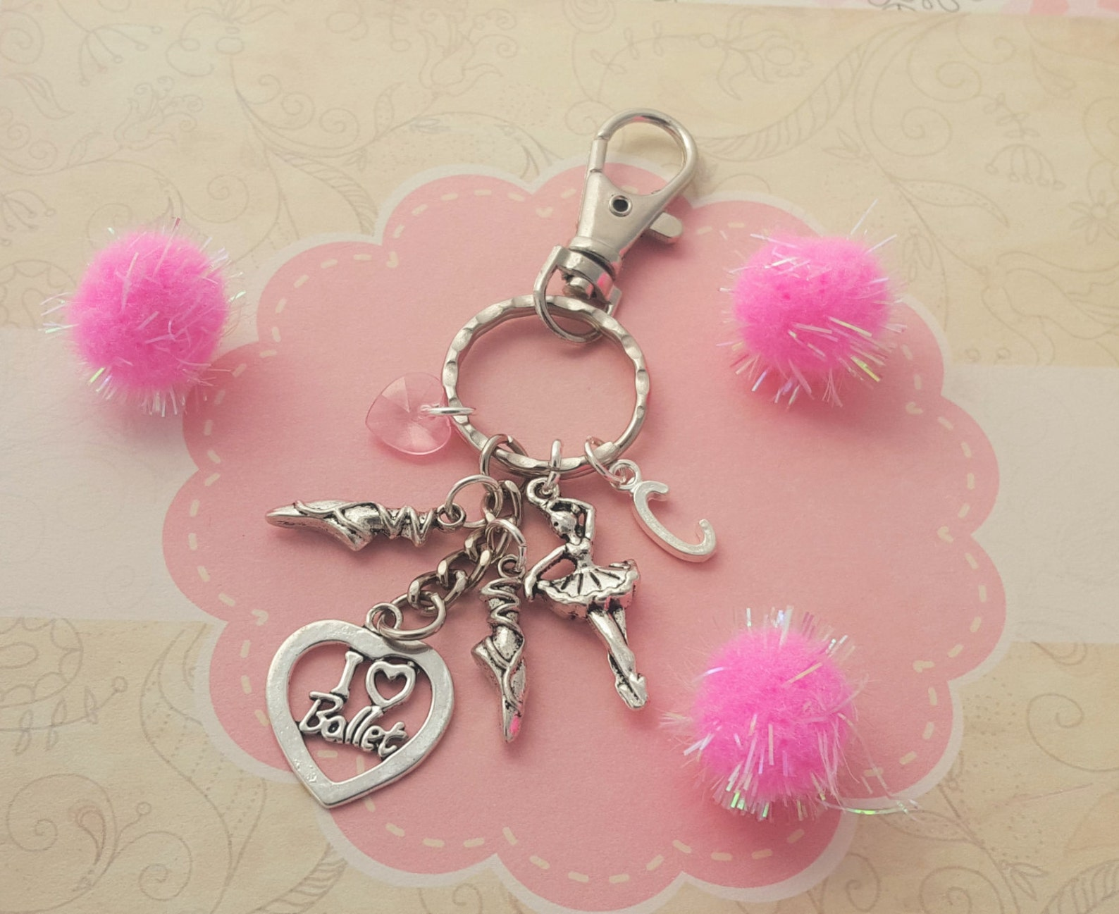ballerina bag charm, ballet dancer keychain, dance accessory, personalised gift, dancing keyring, kids bag charm, i love ballet,