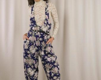 80s cotton floral jumpsuit / sleeveless onesie / overall full length romper / small / medium
